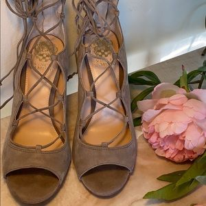 Vince Camuto Camille lace up suede heels